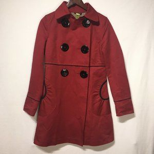 Soia & Kyo Red & Black Button Front Trench Coat